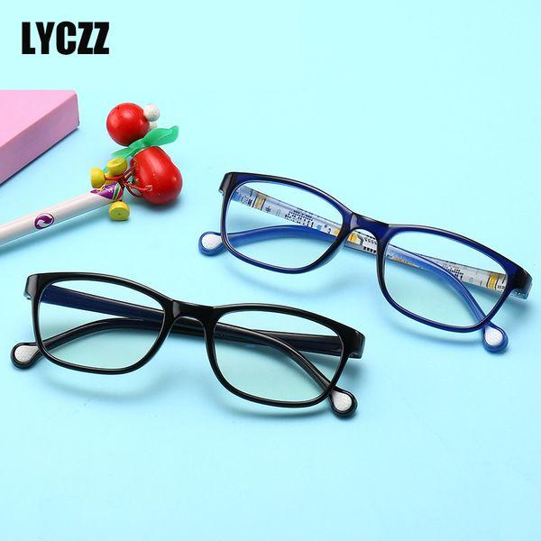 LYCZZ Мультфильм милые прозрачные очки Рамка для детей Силиконовые очки для детей Анти-синий Свет очки для детей Оптическая миопия рамка jant