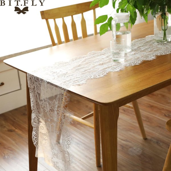35x300cm Lace Eyelash Table Runner Floral Table Cloth For Baby Shower Wedding Festival Party Cover Supply Home Textile