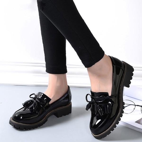 Acheter Femmes Glands Bowtie Printemps Derby Chaussures Femme Plateforme De La Mode En Cuir Verni Talons Bas Dames Slip Sur Chaussures De $32.17 Du