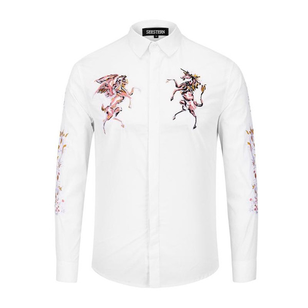 seestern New brand classic black white shirts fashion embroidery horse men long sleeve shirts Pegasus unicorn tops flowers tops