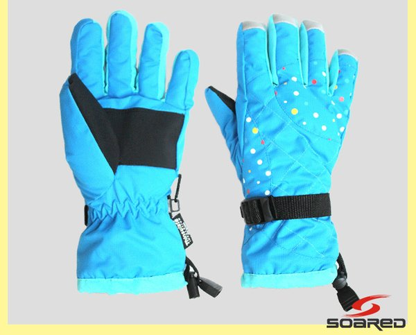 Blue ski gloves for women red thermal fingered riding skiing gloves winter sports waterproof snowboarding snow