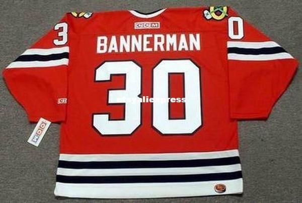Özel Erkek MURRAY BANNERMAN Chicago Blackhawks 1983 CCM Uzakta Ucuz Retro Hokeyi Forması Formaları