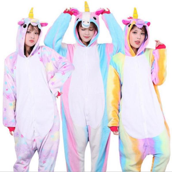 Случайные женщины и мужчины пижамы животных единорог звезда дизайн пижамы мягкий дышащий фланелевые стежка Onesie пижамы новое поступление 34yn BB