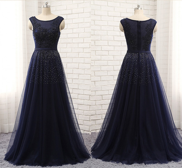 The New High-end Sexy A-Line Evening Dress shoulder Sleeveless T-shirt Mesh Lace Applique Nail Bead Long Autumn Winter Dance Party Dresses