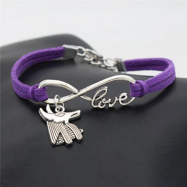 Infinity Love Egypt Patron Horse Anubis Animal Wolf Bull Head Charm Jewelry Fashion Purple Leather Rope Bracelet Women Men Wristband Bangles