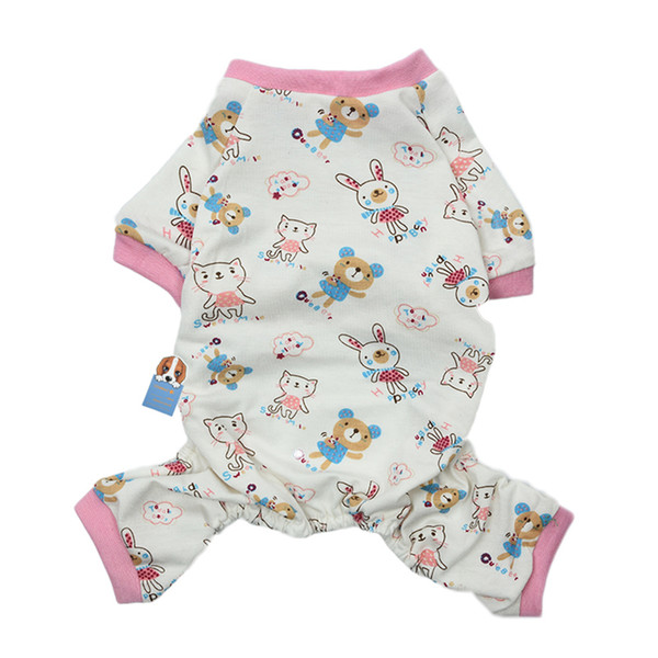 Latest Arrival 4 Sizes Pink Trimmed Pet Dog Leisure Wear Multifunctional Home Clothes Pajamas Jumpsuit With Cute Cat Patterns