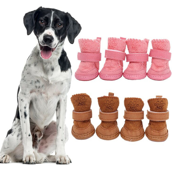 4Pcs/set Thick Snow Dog Shoes Pet Chihuahua Animal Warming Cotton Sneakers Plush Winter Puppy Cats Warm Boots Pet Supplies