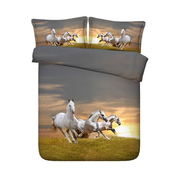 3 Pieces Bedding Quilt Comforter Cover For Kids Teen Girls Boys 1 Animal Duvet Cover 2 Pillow Shams No Comforter 3D Galloping Horses