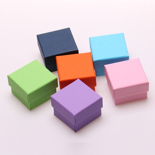 24pcs/lot Small Square Paper Gift Boxes for Jewellery with Black Sponge Solid Color Earrings Ring Box Jewelry Packaging Display