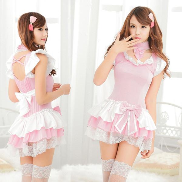 Frete Grátis Nova lingerie sexy cosplay rosa bonito manga curta profissional conjunta princesa arco empregada doméstica maid saia curta terno uniforme