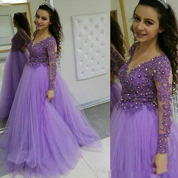 Elegant Arabic Prom Dresses A Line V Neck Long Sleeve Floor Length Evening Dresses With Applique Beads Tulle Formal Party Gowns