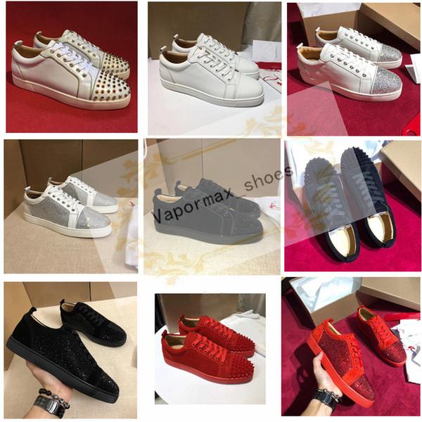 Tasarımcı Ayakkabı Çivili Dikenler Flats ayakkabı Kırmızı Bottoms lüks Womens Parti Aşıklar Gerçek Deri Sneakers boyutu 36-46 ayakkabı