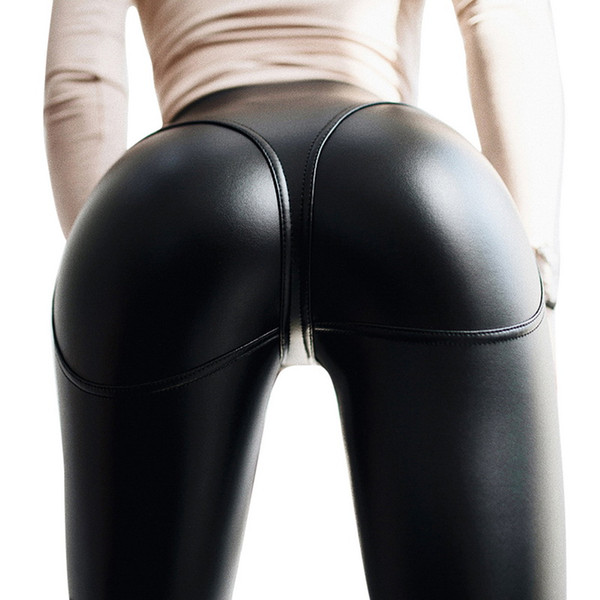 Laamei 2019 Donna Leggings Push Up Hot Sexy Nero PU Faux Leggings Zipper in pelle Vita alta Strtch Slim Skinny Pants Leggin