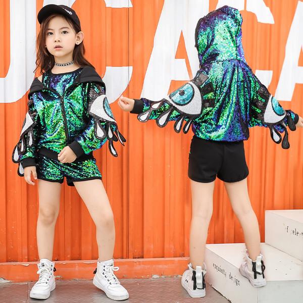Kid Lentejuelas Hip Hop Disfraces Salón de baile Sudaderas con capucha Chicas Crop Tank Top Jazz Dancing Chaqueta Ropa de baile Camisa de moda Short Dancewear
