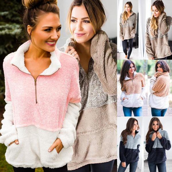 Las mujeres de bolsillo Fleece con capucha 4 colores Patchwork cremallera con capucha de piel de invierno suéteres de cuello alto cremallera Sherpa Tops LJJ-O7201