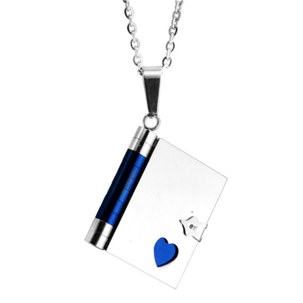 """""""love Letter"""" Book Pendants Couple Necklaces Korean Stainless Steel Lovers Jewelry Christmas Gift Wholesale"""