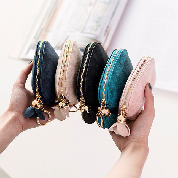 Women Naivety Leather Zip Coin Purse Clutch Handbag Wallet Multifunctional Solid Wallets Id Card Small Items Holder