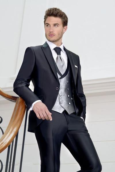 2019 Custom Made Schwarz One Button Mann Anzug Blazer + Pants + Weste Bräutigam Smoking Herrenanzug Mi Smoking für Mann