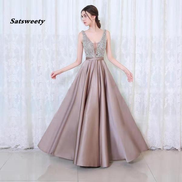 V-cou perles corsage dos ouvert une ligne robe de soirée longue partie élégante robe De Festa expédition rapide robes de bal