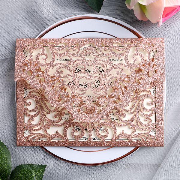 2019 invitaciones de invitaciones de corte láser de brillo de oro rosa magnífico para bodas nupcial despedida de soltera cumpleaños graduación invita