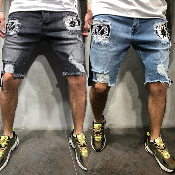 Men's 2019 New 2 colori patch modello skinny corto jeans per uomo strappato pantaloni denim estate Homme Capri pantaloni maschili