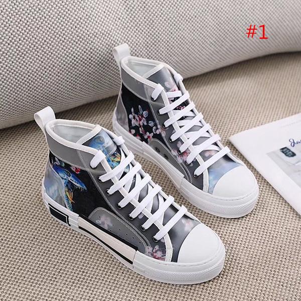 2019 Women Black White Oblique Canvas Textured Lace-up Sneaker Boots Designer Flower Letter Print Two-tone Rubber Sole Casual Shoes Origin