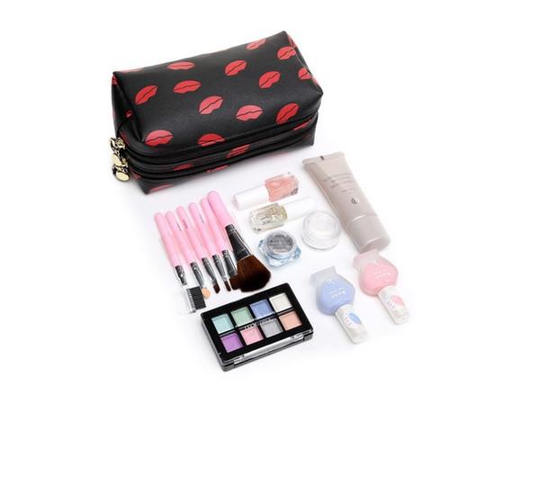 Versión coreana de la moda lápiz labial con doble cremallera bolso de embrague Nuevo patrón cruzado PVC labio bolsa de maquillaje Corea