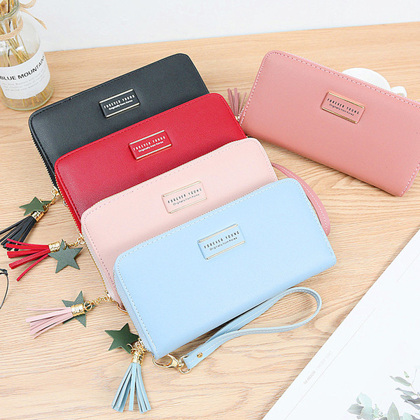 Multi-color Korean Style Women's Purse Card/Coin/Mobile Phone Holder Leather Handbag Large Capacity Ladies Clutch Coin Women's Wallet