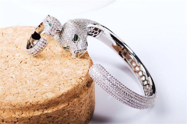Designer Luxury Cheetah Rings Bangles Sets Fashion Green Eyes Animals Design Bracelets Rings Fine Wedding Jewelry Set Lover Gift
