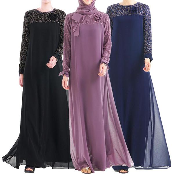 Abaya Muslim Women Chiffon Long Dress Turkey Lace Patchwork Dubai Robe Ethnic Style Islamic Gown Bow Fashion Middle East Kimono