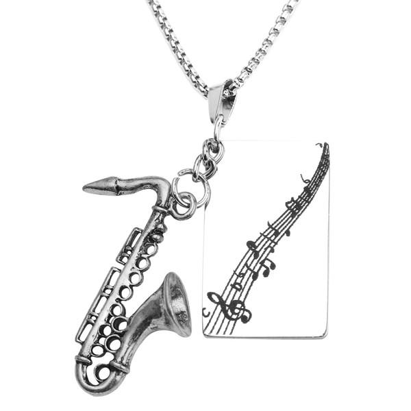 Personnalisé Collier Personnalisé Instrument De Musique Saxophone Gravé Pendentif Bijoux Pièce De Métal Colliers pour Hommes Femmes