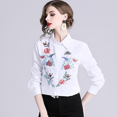 2019 spring explosions high-end single-breasted women's shirt Phoenix embroidery design big-name long-sleeved slim white shirt new