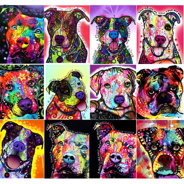 5d Diy Elmas Boyama Karikatür Köpekler Elmas Nakış Renkli Köpek Mozaik Rhinestone El Sanatları Çapraz Dikiş Desenleri Duvar Sanatı