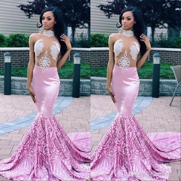 African Light Purple Prom Dresses Long 2019 High Neck Long Sleeves Sequins Beads Evening Gowns Sweep Train Plus Size Mermaid Party Dress