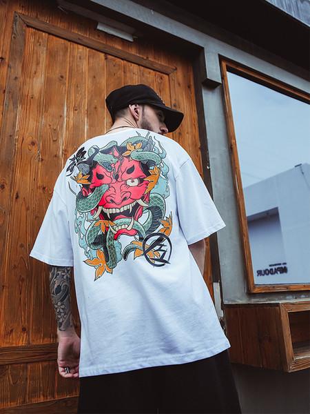 Camiseta oscura de Hip Hop con cuello redondo de Prajna para hombre Camiseta de fantasma de serpiente de verano de 2019 Camiseta de Harajuku Streetweawr Camiseta de algodón Hiphop