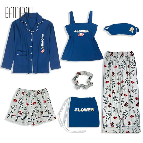 2019 Nuevos Conjuntos de Pijamas para Mujer de Primavera 7 Piezas 100% Algodón Ropa de Dormir Femenina Floral Ropa para el Hogar Trajes de Pijamas de Algodón para Mujer BANNIROU