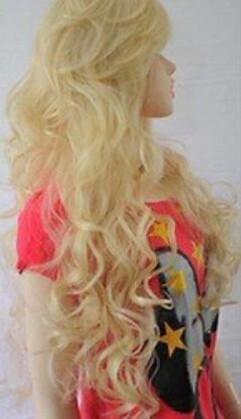 Free Shipping Drama Ladies Long Wavy Full Wigs ~ Bleach Blonde
