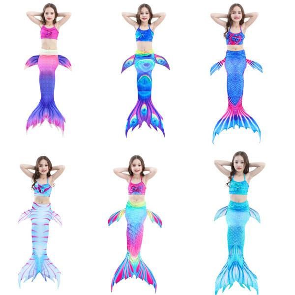 3 Stücke Mädchen Badeanzug Meerjungfrau Schwänze für Schwimmen Prinzessin Bikini Badeanzug Set Badeanzug Badeanzug für 3-12Y
