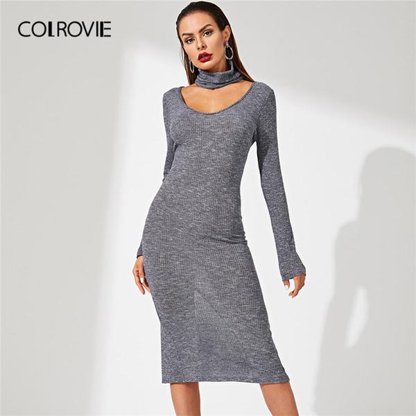 Collovie grau solide choker halskette rippe strick bodycon büro tragen pullover dress frauen 2018 langarm sexy casual midi dress