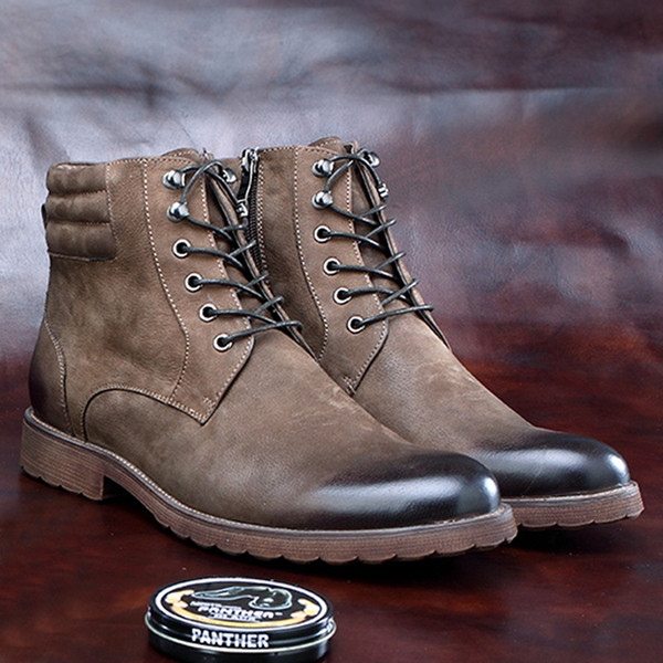 cbe89577d5433 Vintage Formal Dress Man Handmade Retro Platform Shoes Round Toe Men'S  Natural Genuine Leather Chukka Work Ankle Boots BGQ176 Grey Boots Brown  Ankle ...