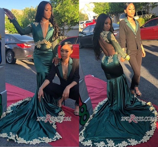 Hunter Green Black Girls African Mermaid Prom Dresses 2019 Sexy Deep V Neck Long Sleeves Satin Formal Party Evening Gowns Custom Made