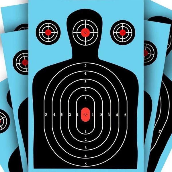 PVC rettangolare blu e verde bersagli di tiro 12 * 18 Silhouette Splatter carta reattiva mira fucile fluorescente pistola Airsoft Pellet Gun