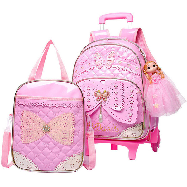 Kids Girls Trolley Schoolbag Set Luggage Wheeled Book Bags Backpack Latest Removable Children School Bags With 2/6 Wheels Stairs