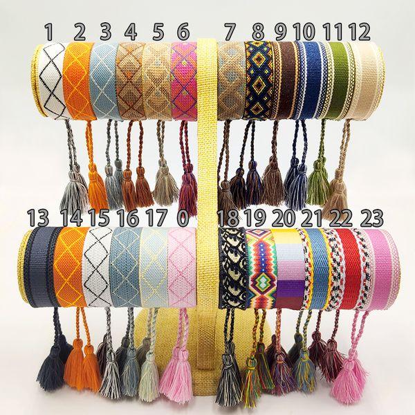 best selling New Cotton woven Letter Embroidery tassel bangle Lace-up Bracelet Adjustable Festival bracelets women jewelry