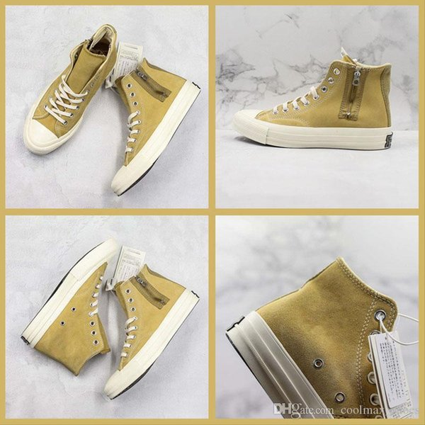 2019 New Convase ADD Classic Yellow Casual Trainers High Cut Zip Lace-up Design Sports Sneaker Men Women Vibram PORON Shoes