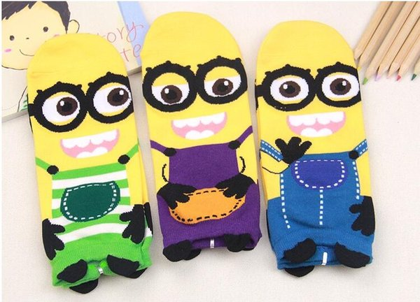 New Hot-Sell Women Cartoon Socks Autumn-Winter Little Minions Cotton Sock Fashion Womens and Lady Colorful Striped Funny Socks