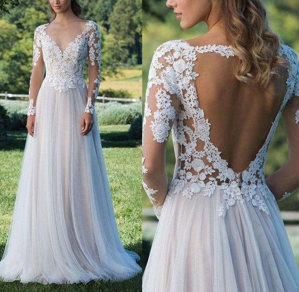 2019 Sheer Long Sleeves Lace A Line Böhmen Brautkleider Tüll Applique Backless bodenlangen Sommer Strand Hochzeit Brautkleider