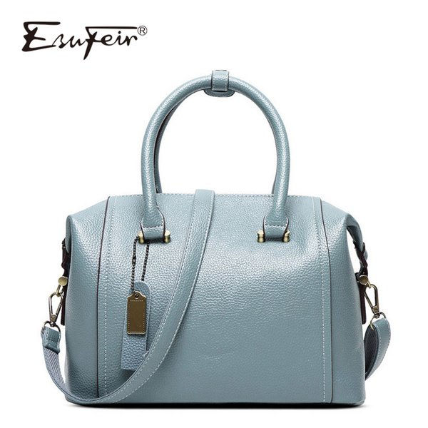 esufeir new embossed leather boston women handbag fashion pillow women bag simple shoulder bag bolsos ladies bag sac a main