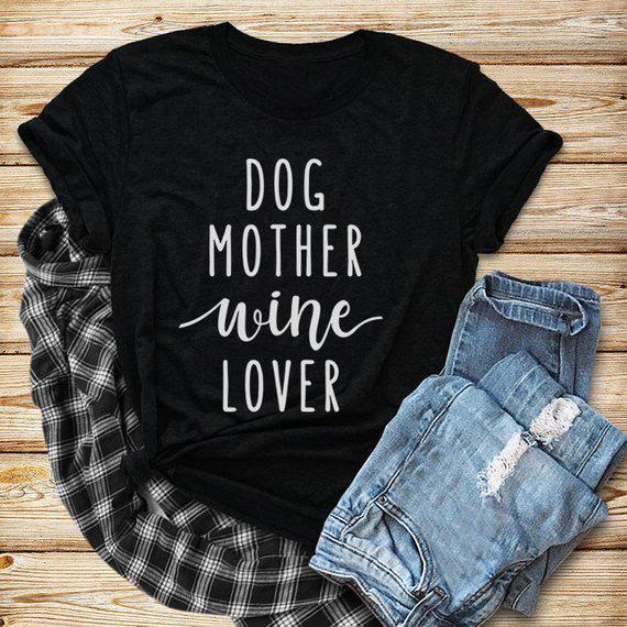 Perro, madre, amante del vino, camiseta, manga corta, gracioso, perro, cita, mujeres, amantes, elegante, vintage, tops, ropa, camisas