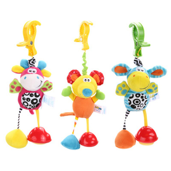 Education Toys Stroller Crib Hanging Doll Toy with Clip Soft Plush Cartoon Animal Butterfly Elephant Dear Baby Rattle Grasp Doll Toy